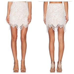 For Love and Lemons Guava Skirt in White & Nude